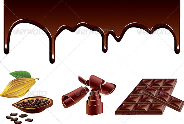 Chocolate and Cacao Vector Set