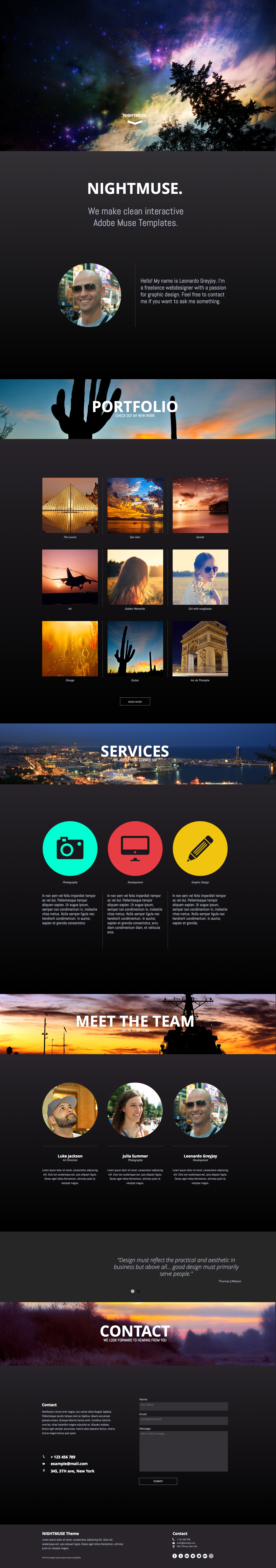 Nightmuse - One Page Portfolio Muse Theme