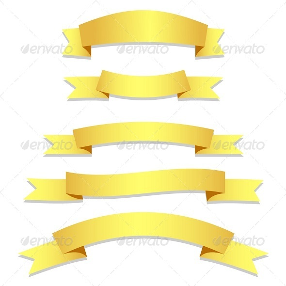 GraphicRiver Gold Ribbons Flags 6233543