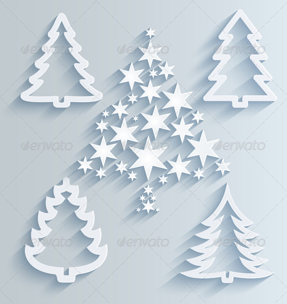 GraphicRiver Christmas Trees Paper Holiday Decorations 6234484