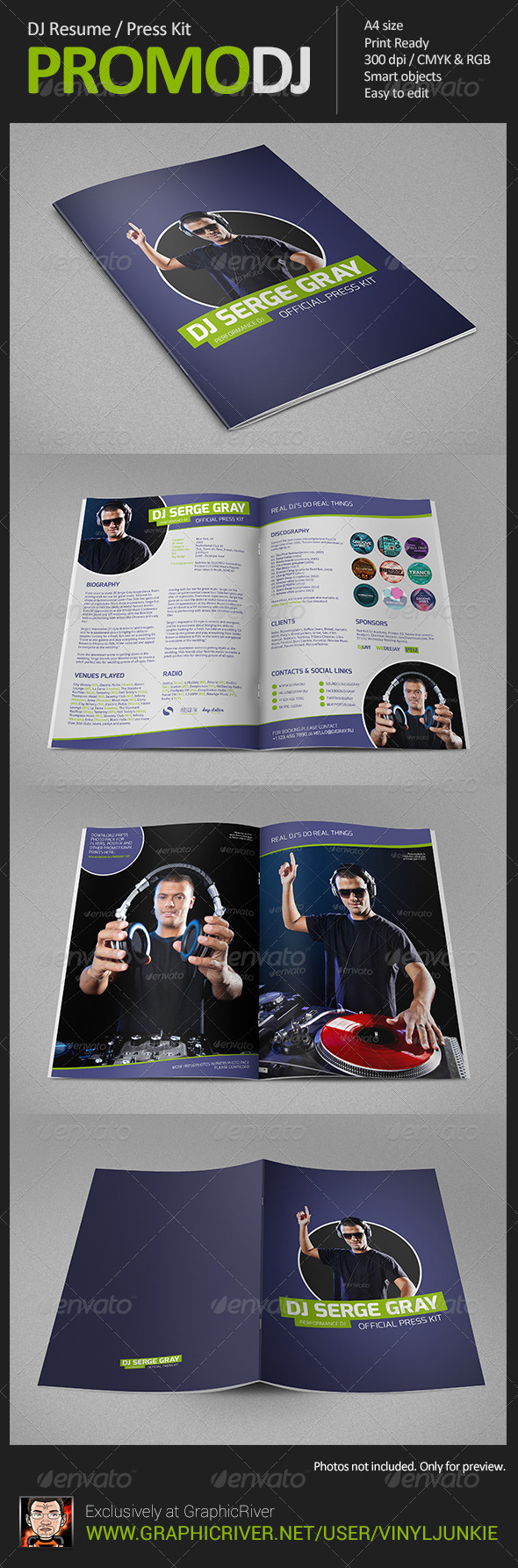 PromoDJ - DJ Resume (Press Kit) - Resumes Stationery