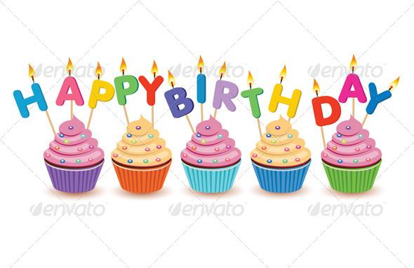 GraphicRiver Happy Birthday Cupcakes Isolated 6234932