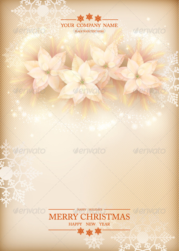 GraphicRiver Christmas Poinsettias Celebration Background 6235041