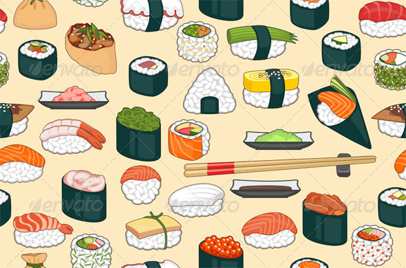 GraphicRiver Sushi Seamless Background 6235073