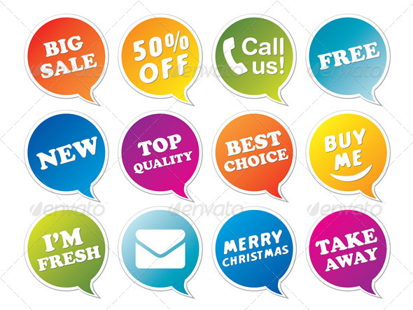 GraphicRiver Stickers Set in Form of Speech Bubbles 6235261