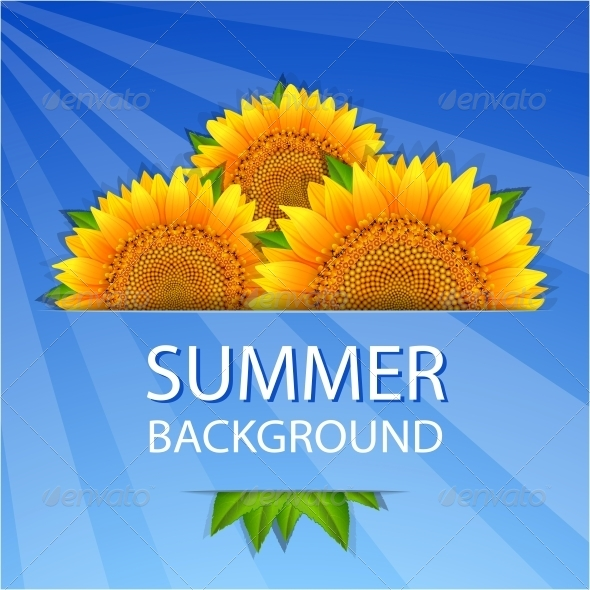 GraphicRiver Summer Sunflowers Background 6236328