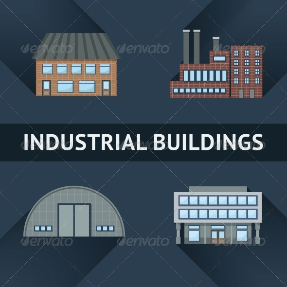 GraphicRiver Industrial and Business Building Icons 6236547