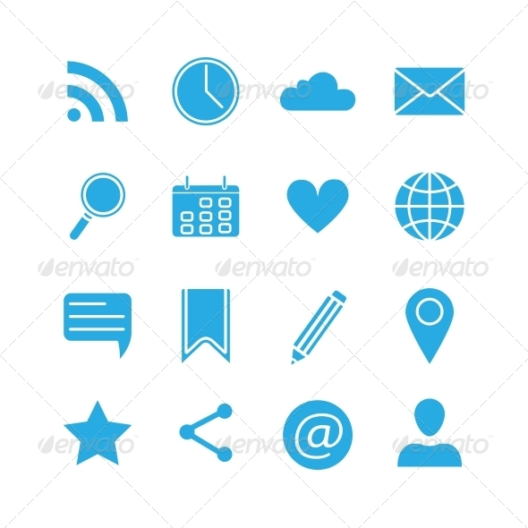 GraphicRiver Silhouette Social Media Icons Set 6236620