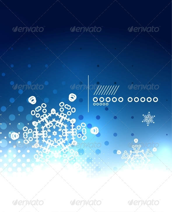 GraphicRiver Blue Magic Sky and Snowflakes Winter Background 6236629