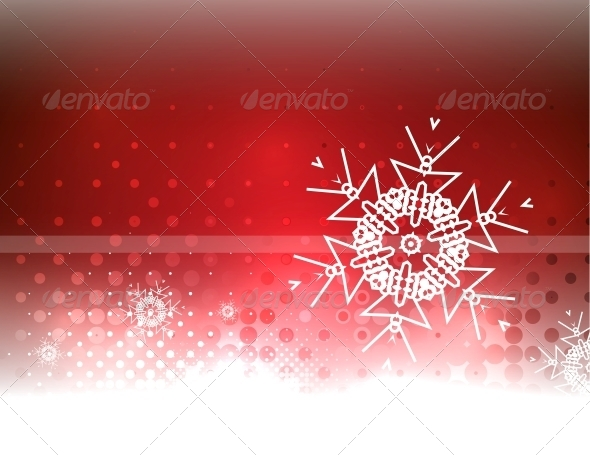GraphicRiver Abstract Red Sky and Snowflake Background 6236672