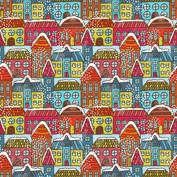 GraphicRiver Winter Houses Seamless Pattern 6236687