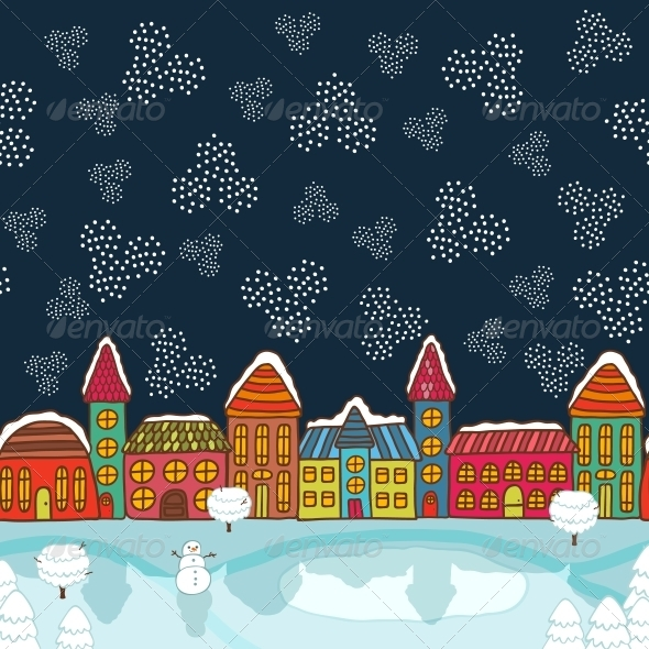GraphicRiver Christmas House Background 6236691