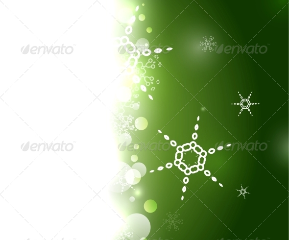 GraphicRiver Green Christmas Snowflake Geometric Background 6236695