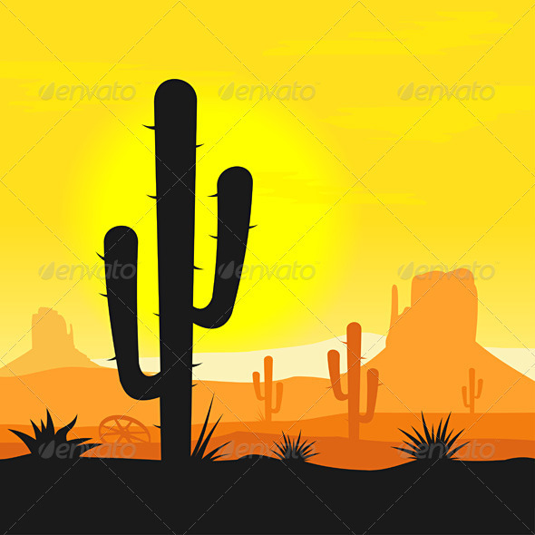 GraphicRiver Cactus plants in desert 611494