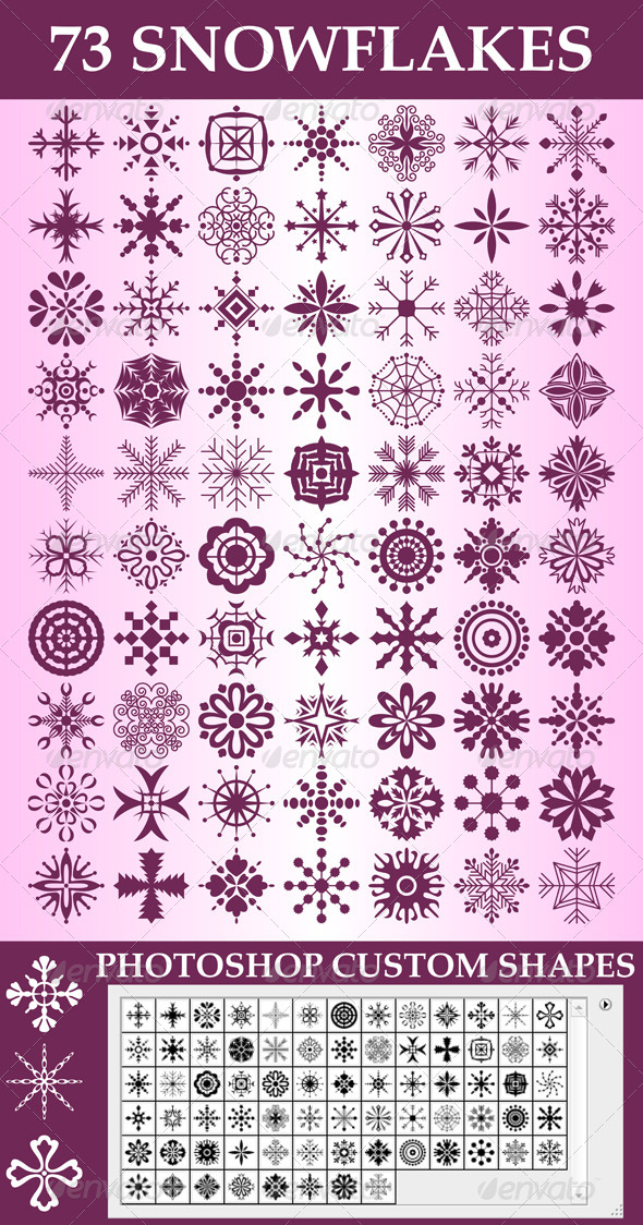 GraphicRiver Snowflakes Custom Shapes 6237011