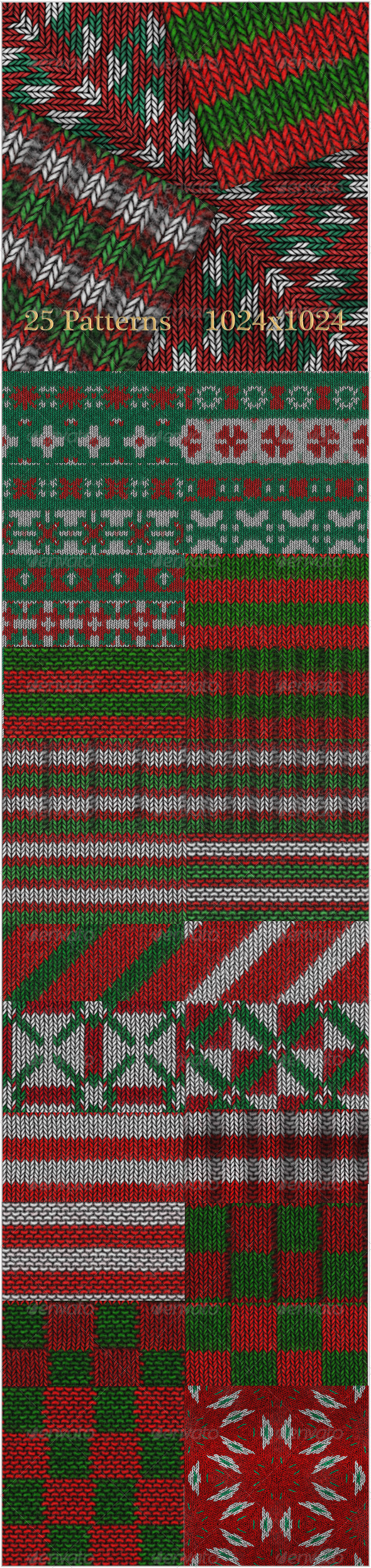 GraphicRiver 25 Christmas Knitting Patterns 6237012
