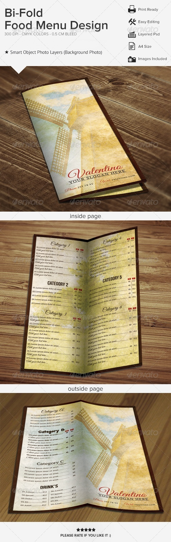 GraphicRiver Bi-Fold Food Menu Design 6237829