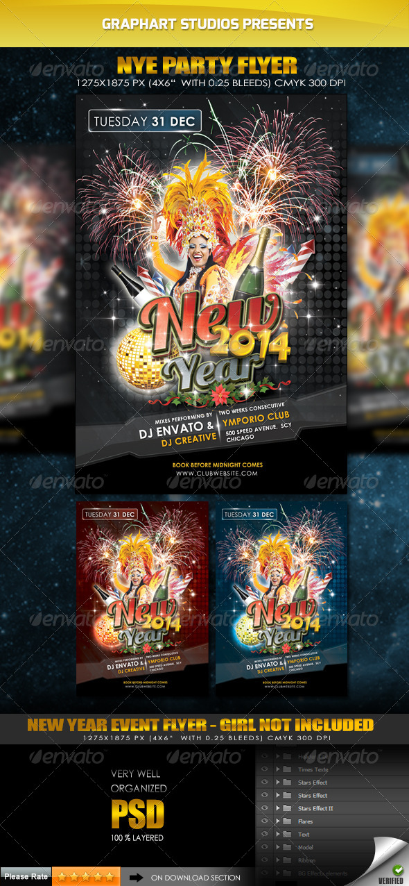 GraphicRiver New Year Eve 2014 Flyer 6238620