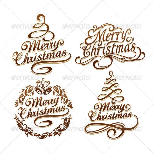 GraphicRiver Christmas Typography Set 6238625