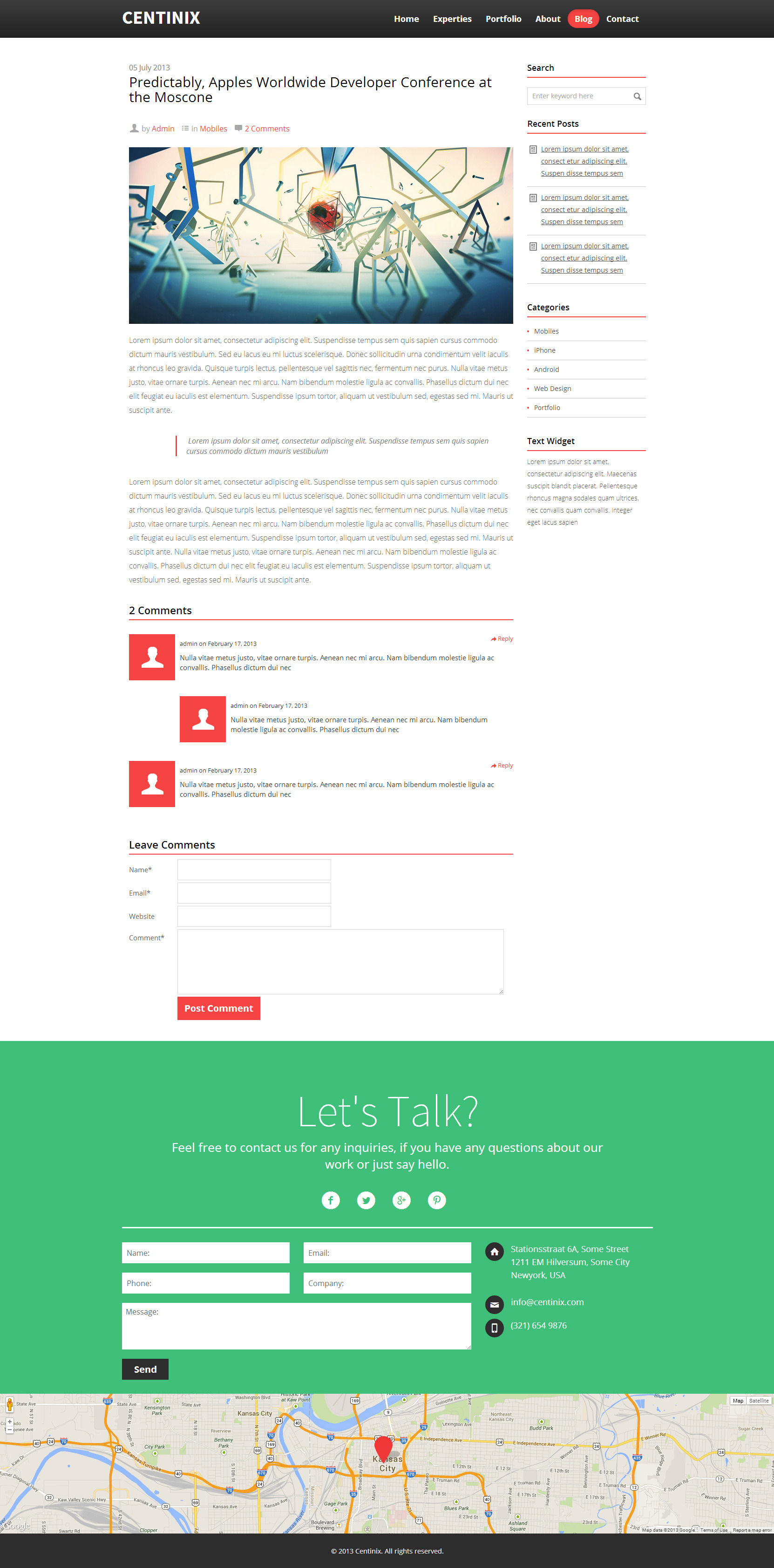 Centinix Responsive One-Page Bootstrap 3.0 HTML