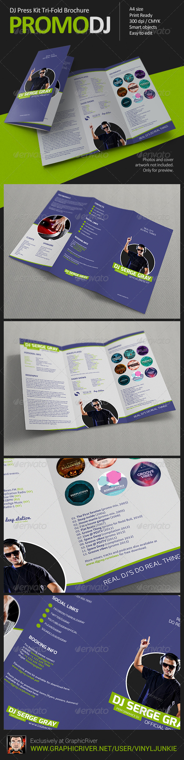 GraphicRiver PromoDJ DJ Press Kit Tri-Fold Brochure 6239966