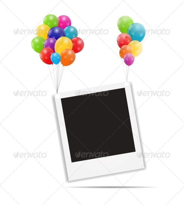 GraphicRiver Color Glossy Balloons Birthday Card 6240033
