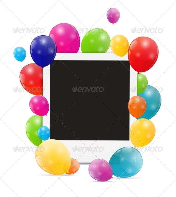 GraphicRiver Color Glossy Balloons Birthday Card 6240034