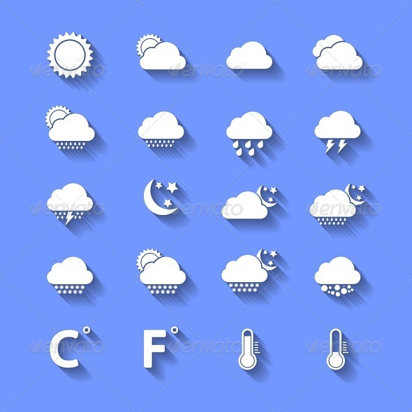GraphicRiver White Weather Icons With Shadows 6240705