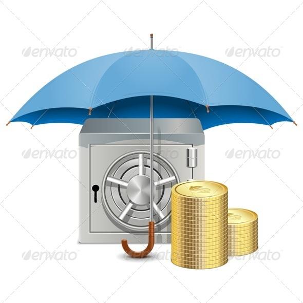 GraphicRiver Vector Umbrella and Safe 6241031