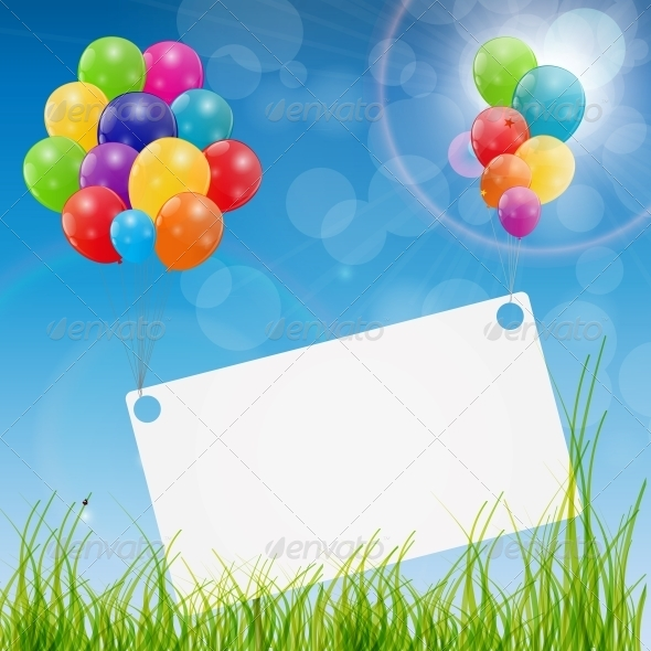 Color Glossy Balloons Birthday Card