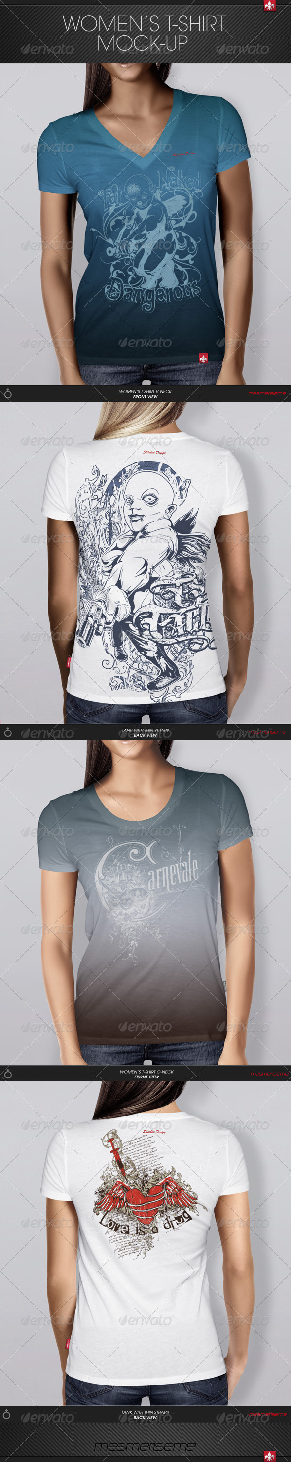 GraphicRiver Women s T-shirt Mock-up 6241229