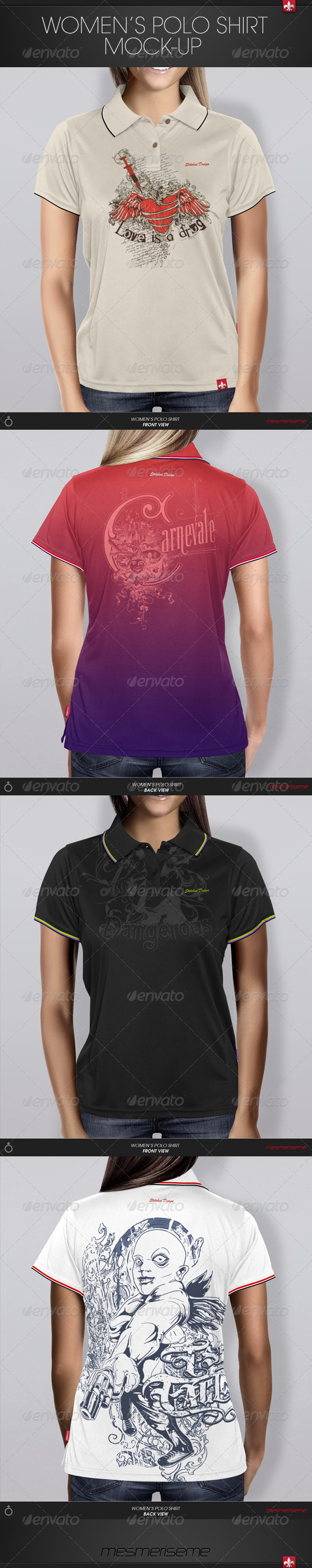 GraphicRiver Women s Polo Shirt Mock-up 6241364