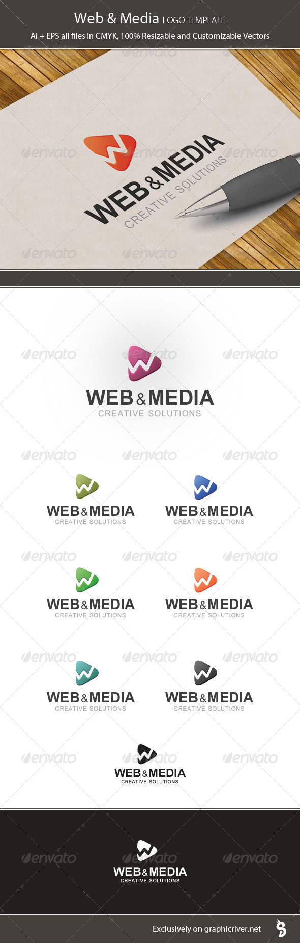 Web & Media Logo Template - Vector Abstract