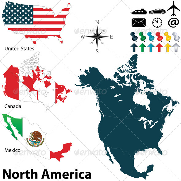 GraphicRiver Political Map of North America 6242054