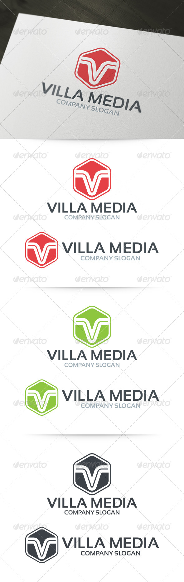 GraphicRiver Villa Media Letter V Logo Template 6242670