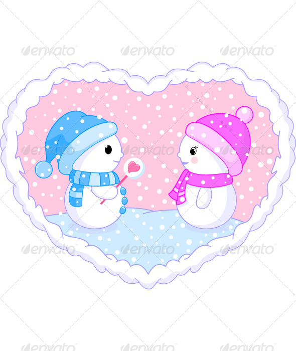 GraphicRiver Two Snowmen in Love 6243098