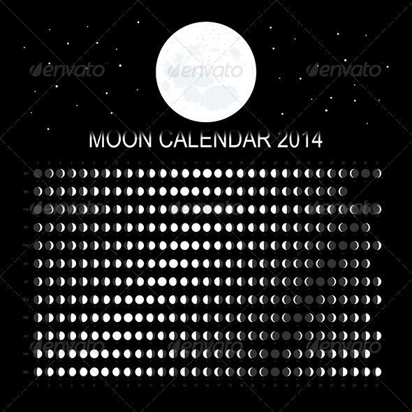 GraphicRiver Moon Calendar 2014 6243319