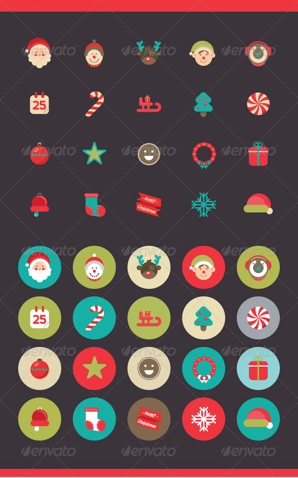 GraphicRiver Christmas Icons Set 6243472