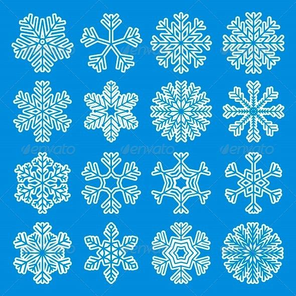 GraphicRiver White Snowflakes Icons 6234099