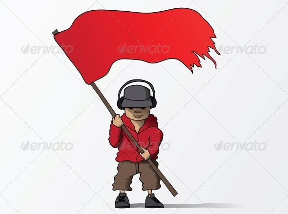 Man with Red Flag Cartoon