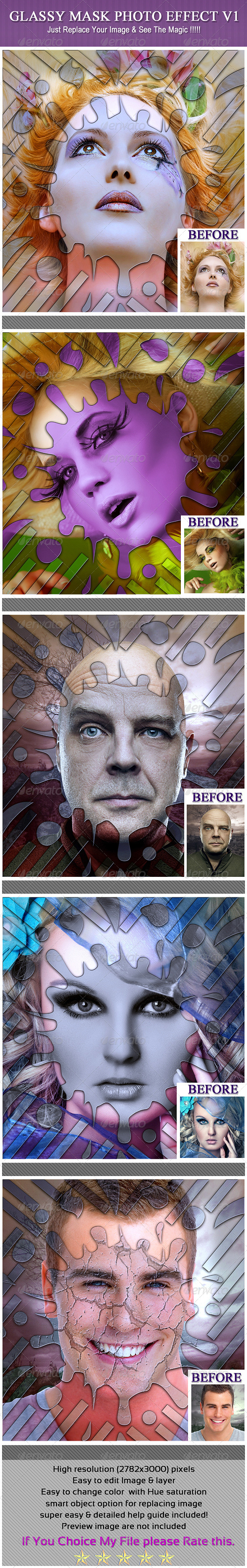 GraphicRiver Glassy Mask Photo Effect V1 6210858
