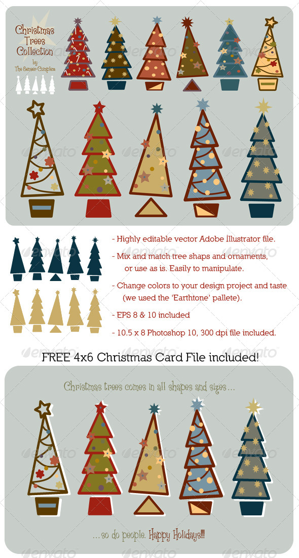 GraphicRiver Christmas Trees Vector Collection 6219899