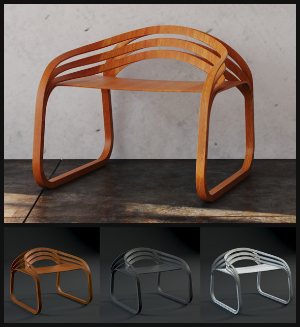 Modern Plywood Chair - 3DOcean Item for Sale