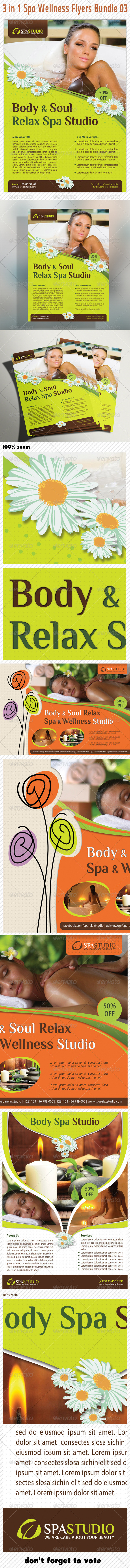 GraphicRiver 3 in 1 Spa Wellness Flyers Bundle 03 6244421