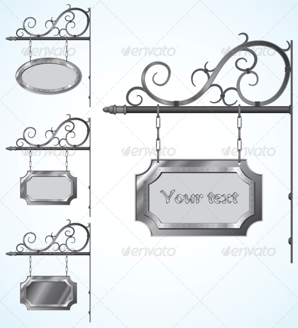 GraphicRiver Wrought Iron Signs for Old-Fashioned Design 6244456