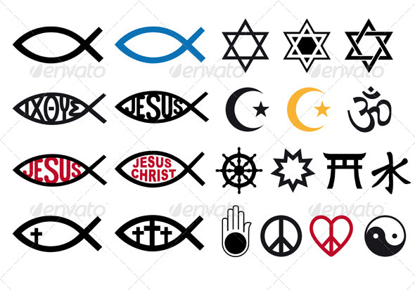 GraphicRiver Religious Symbols Religion Signs Vector Set 6244475