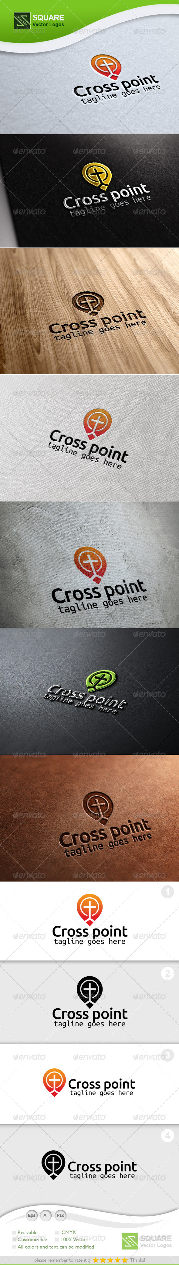 Cross Locator Vector Logo Template