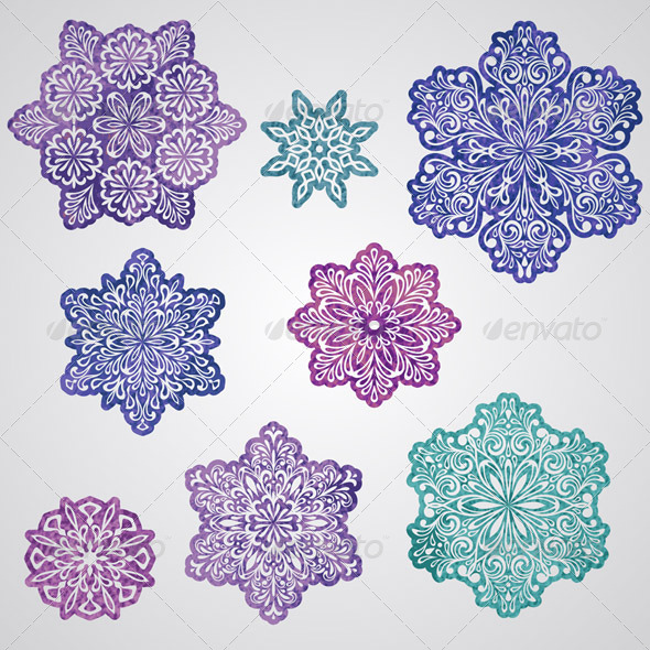 Vector Paper Cut Watercolor Snowflakes