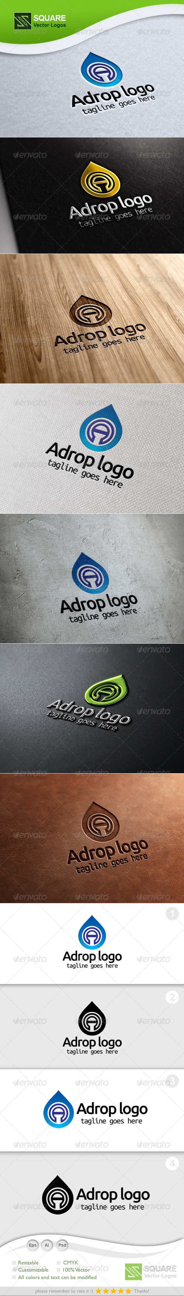 A Letter Drop Vector Logo Template