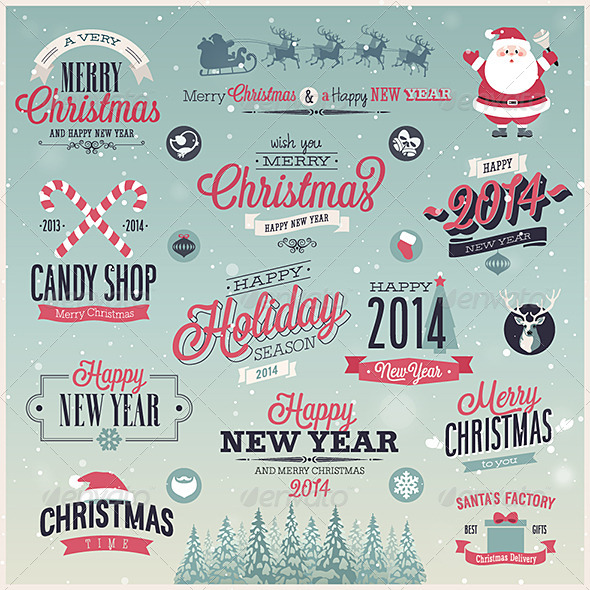 GraphicRiver Christmas Set Labels and Emblems 6245253